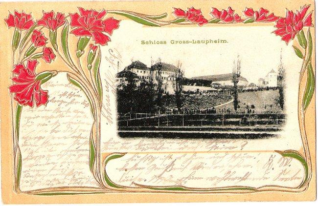Schloss Gross-Laupheim (Vorderseite der Ansichtskarte)