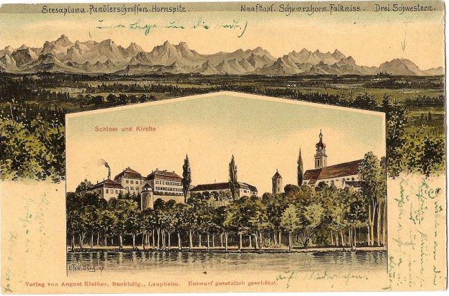Schloss und Kirche (Vorderseite der Ansichtskarte)