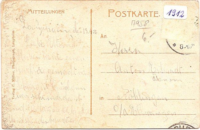 Großlaupheimer Schloß mit Garten (Rückseite der Ansichtskarte)