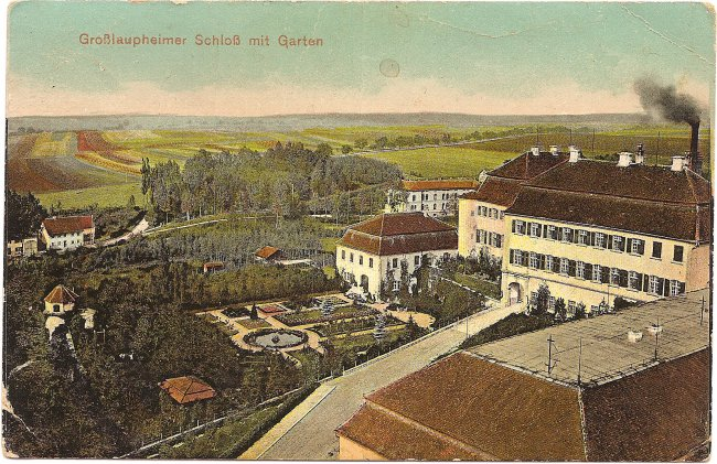 Großlaupheimer Schloß mit Garten (Vorderseite der Ansichtskarte)
