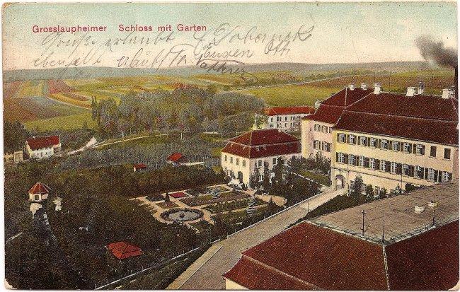 Grosslaupheimer Schloss mit Garten (Vorderseite der Ansichtskarte)