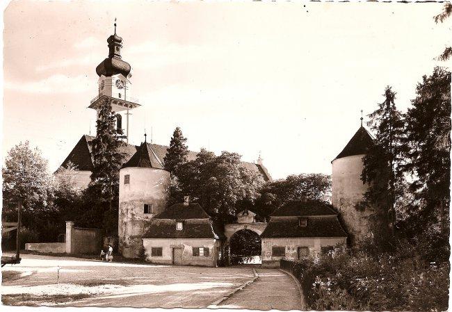 Schloss Großlaupheim (Vorderseite der Ansichtskarte)