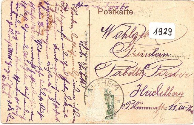 Laupheim Schloßtor mit Schloß (Rückseite der Ansichtskarte)