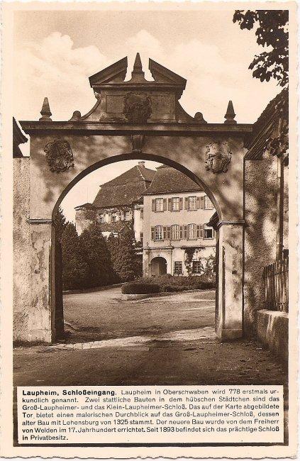 Laupheim Schloßeingang (Vorderseite der Ansichtskarte)