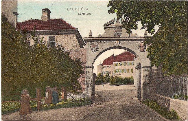 Laupheim Schlosstor (Vorderseite der Ansichtskarte)