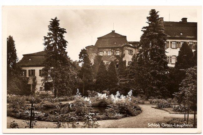 Schloß Gross-Laupheim (Vorderseite der Ansichtskarte)