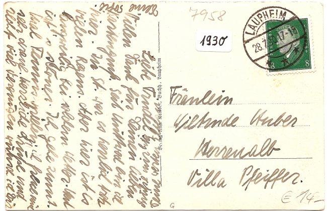 Schloß Groß-Laupheim (Rückseite der Ansichtskarte)