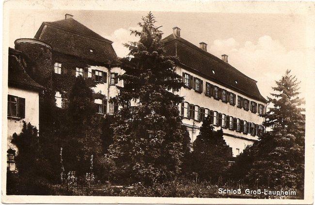 Schloß Groß-Laupheim (Vorderseite der Ansichtskarte)