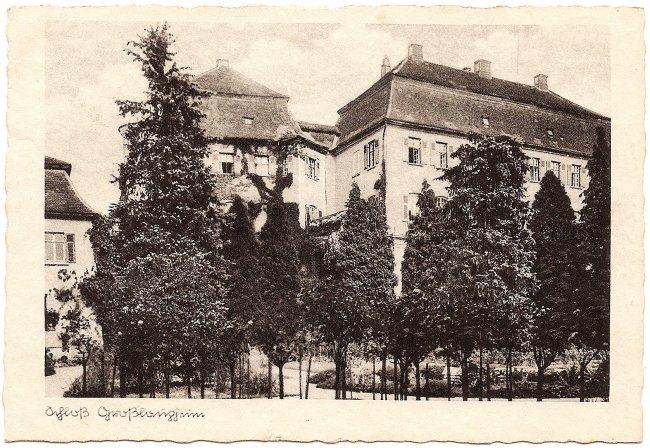 Schloß Großlaupheim (Vorderseite der Ansichtskarte)