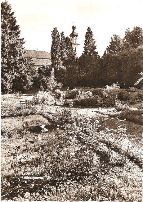 Laupheim Schlossgarten (Vorderseite der Ansichtskarte)