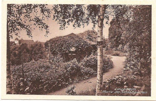 Laupheim Motiv im Schloßgarten (Vorderseite der Ansichtskarte)