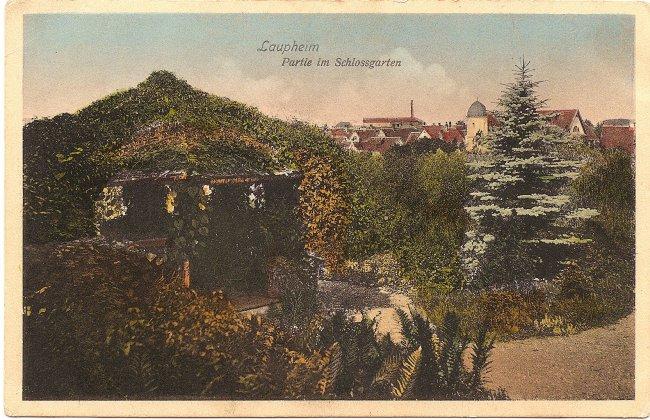 Laupheim Partie im Schlossgarten (Vorderseite der Ansichtskarte)