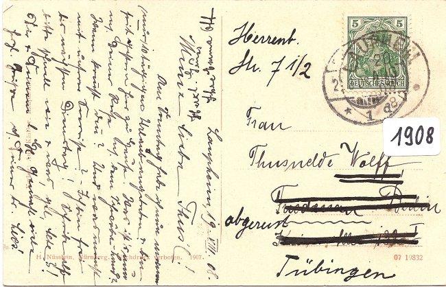 Laupheim  Partie aus dem Schlosspark (Rückseite der Ansichtskarte)