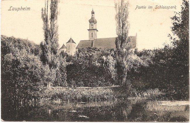 Laupheim Partie im Schlosspark (Vorderseite der Ansichtskarte)