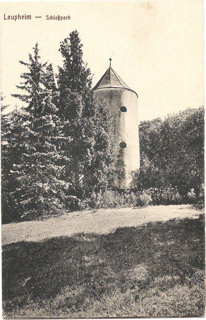 Laupheim - Schloßpark (Vorderseite der Ansichtskarte)