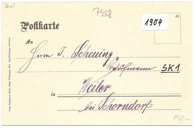 Laupheim Kgl. Oberamt (Rückseite der Ansichtskarte)