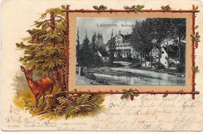 Laupheim, Schloss (Vorderseite der Ansichtskarte)