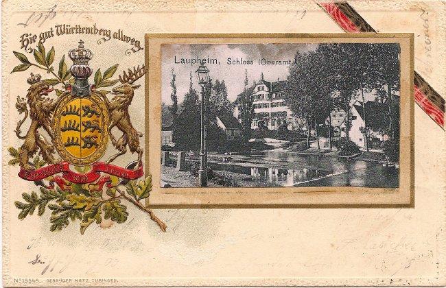 Laupheim, Schloss (Oberamt) (Vorderseite der Ansichtskarte)
