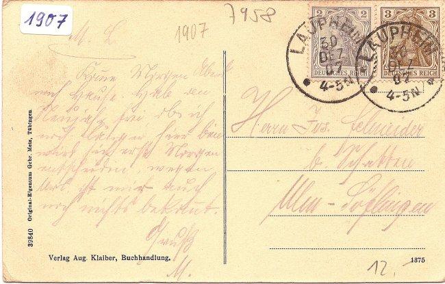 Laupheim Kgl. Oberamt u. Amtsgericht (Rückseite der Ansichtskarte)
