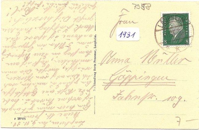 Laupheim Oberamt u. Amtsgricht (Rückseite der Ansichtskarte)