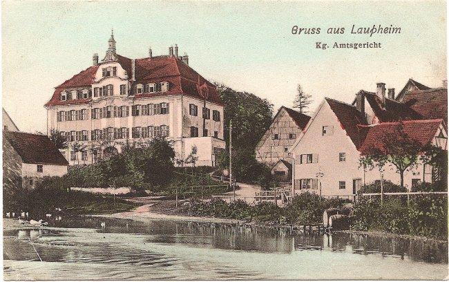 Gruß aus Laupheim Kg. Amtsgericht (Vorderseite der Ansichtskarte)