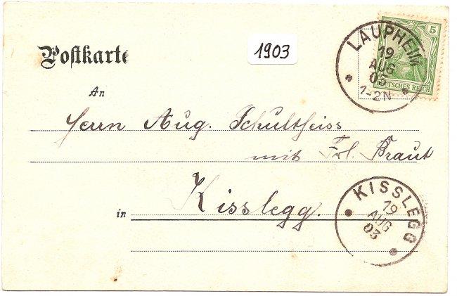 Laupheim, Kgl. Oberamt (Rückseite der Ansichtskarte)