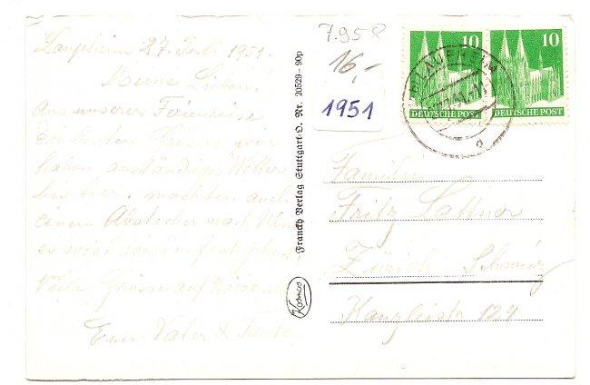 Laupheim Amtsgericht (Rückseite der Ansichtskarte)
