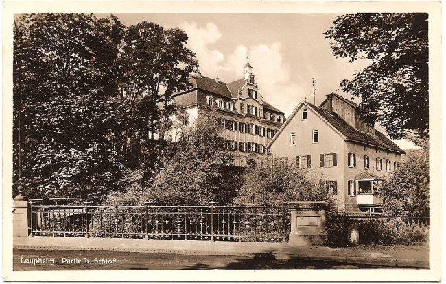 Laupheim Partie b. Schloß (Vorderseite der Ansichtskarte)