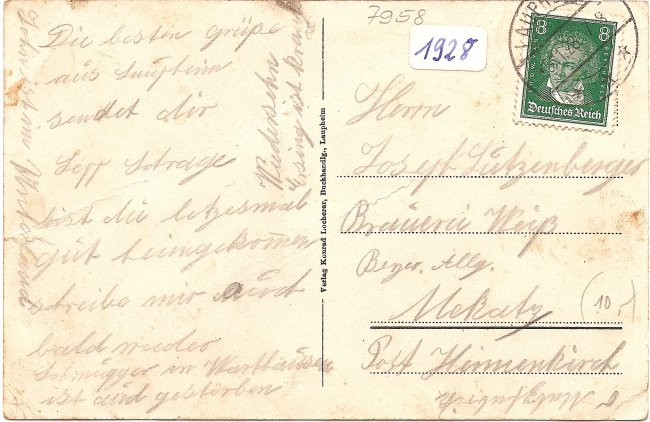 Laupheim Teilansicht (Rückseite der Ansichtskarte)