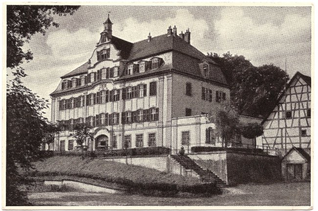 Schloss Kleinlaupheim (Vorderseite der Ansichtskarte)