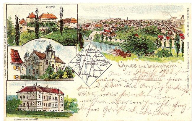 Gruss aus Laupheim (Vorderseite der Ansichtskarte)