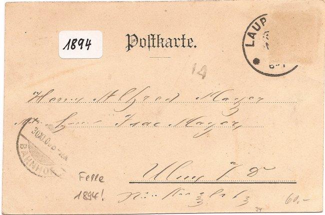 Grüsse aus Laupheim (Rückseite der Ansichtskarte)