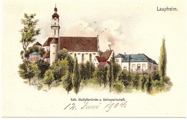 Kath. Stadtpfarrkirche u. Schlosswirtschaft (Vorderseite der Ansichtskarte)