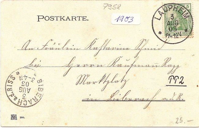 Gruß aus Laupheim Kath. Stadtpfarrkirche (Rückseite der Ansichtskarte)