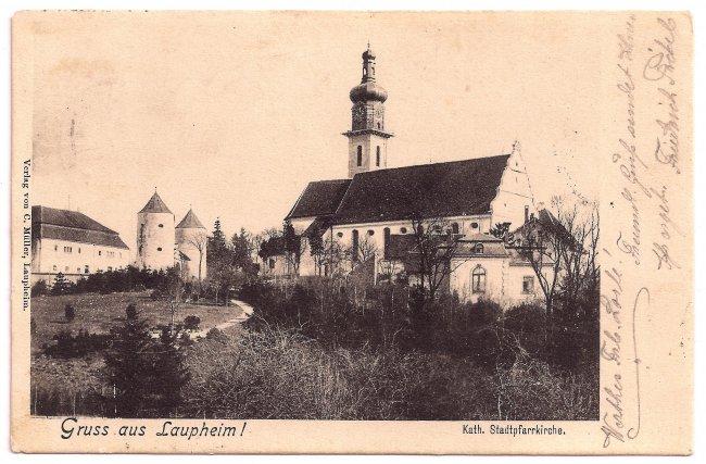 Gruß aus Laupheim Kath. Stadtpfarrkirche (Vorderseite der Ansichtskarte)