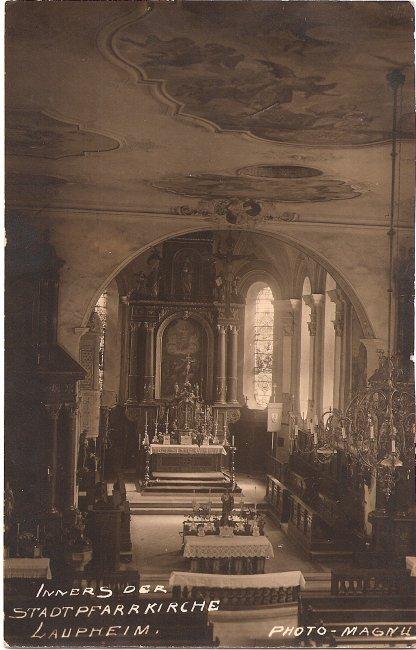 Inneres Der Stadtpfarrkirche Laupheim (Vorderseite der Ansichtskarte)