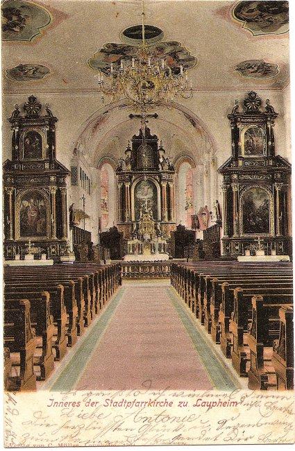 Inneres der Stadtpfarrkirche zu Laupheim (Vorderseite der Ansichtskarte)