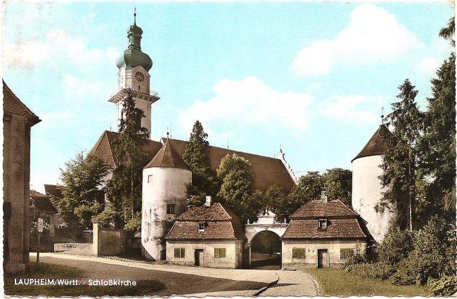 Laupheim/Württ. Schloßkirche (Vorderseite der Ansichtskarte)