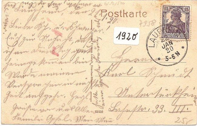 Laupheim - Schloßtor und Kirche (Rückseite der Ansichtskarte)