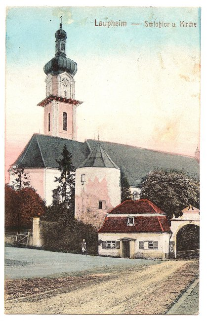 Laupheim - Schloßtor und Kirche (Vorderseite der Ansichtskarte)