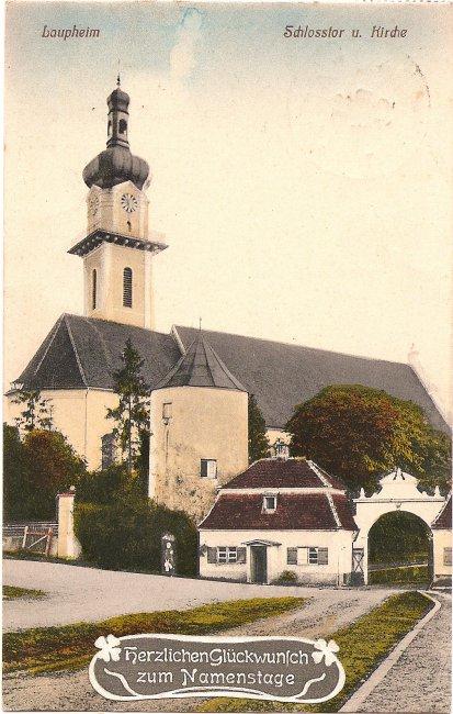 Laupheim Schlosstor und Kirche (Vorderseite der Ansichtskarte)