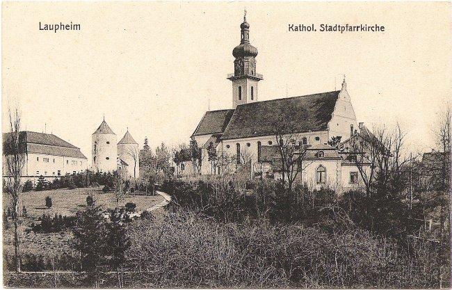 Laupheim Kathol. Stadtpfarrkirche (Vorderseite der Ansichtskarte)