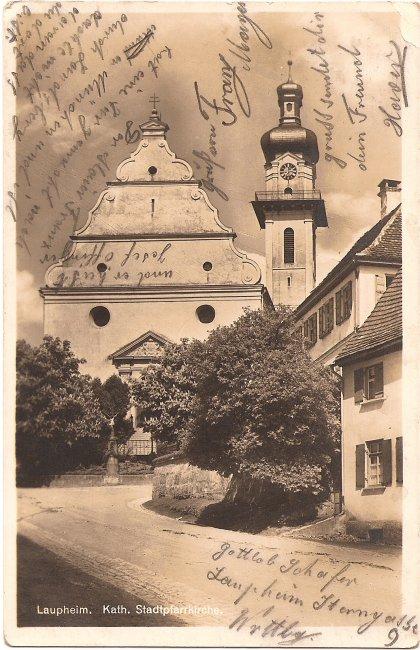 Laupheim Kath. Stadtpfarrkirche (Vorderseite der Ansichtskarte)
