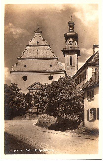 Laupheim, Kath. Stadtpfarrkirche (Vorderseite der Ansichtskarte)
