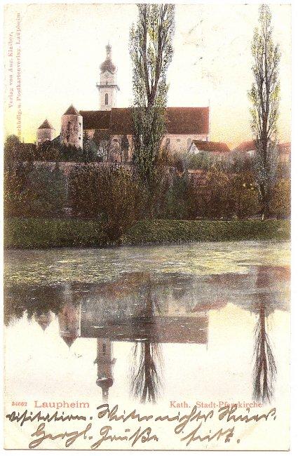 Laupheim Kath. Stadt-Pfarrkirche (Vorderseite der Ansichtskarte)