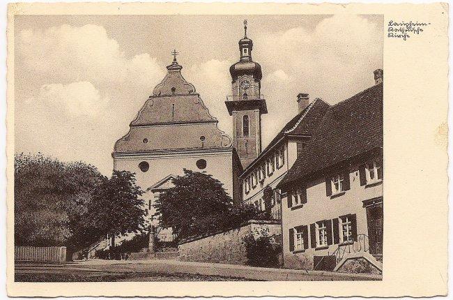 Laupheim - Katholische Kirche (Vorderseite der Ansichtskarte)