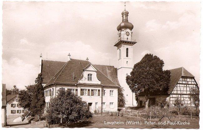 Laupheim (Württ.), Peter-und-Paul-Kirche (Vorderseite der Ansichtskarte)