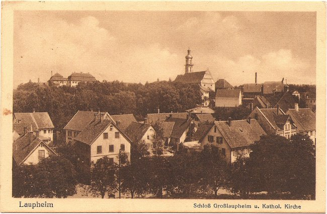 Laupheim Schloß Großlaupheim u. Kathol. Kirche (Vorderseite der Ansichtskarte)