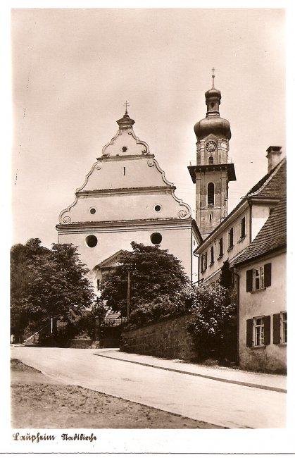 Laupheim Stadtkirche (Vorderseite der Ansichtskarte)