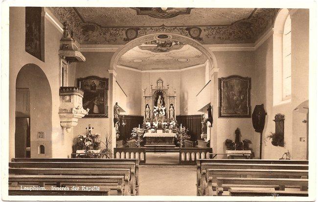 Laupheim, Inneres der Kapelle (Vorderseite der Ansichtskarte)